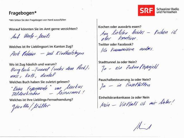 Der von Matthias Michel ausgefüllte Fragebogen.