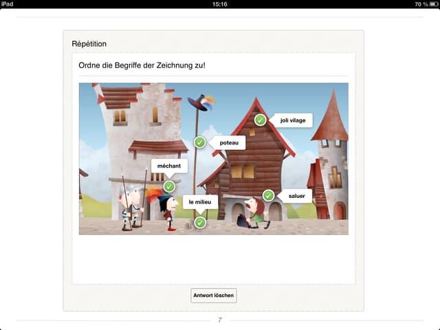 Wörter auf einem Screenshot des iBooks, das ein Dorf zeigt.