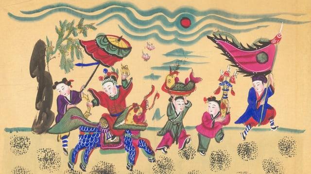 eine chinesische Zeichnung von Söhnen