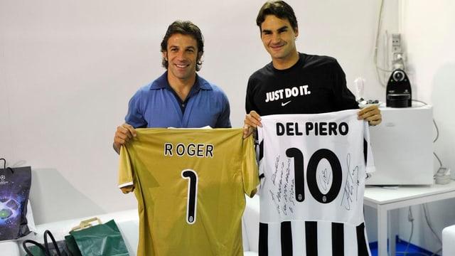 Roger Federer mit Alessandro del Piero