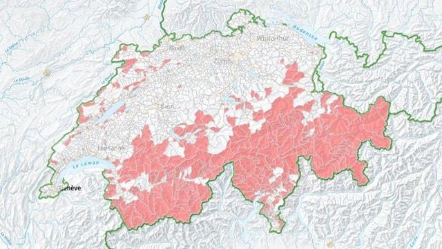 Purtret da la carta Svizra, las parts en il sid, en las alps èn dessignadas cotschnas.