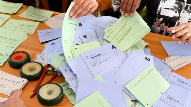 Personen sortieren Stimmzettel.