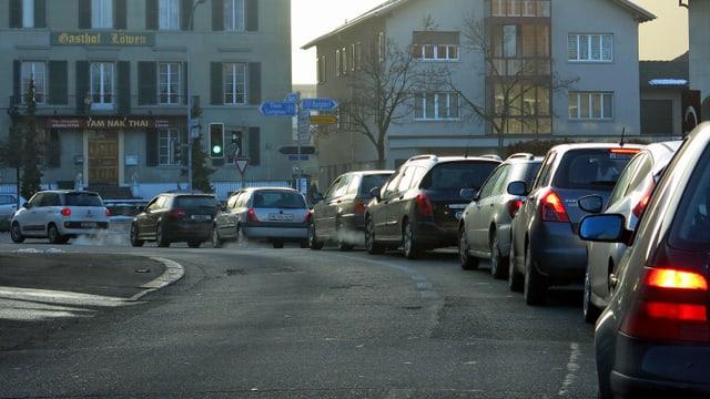 Autostau in Oberburg.