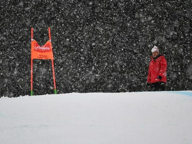 Starker Schneefall verunmöglicht einen Start auf der Kandaharstrecke.