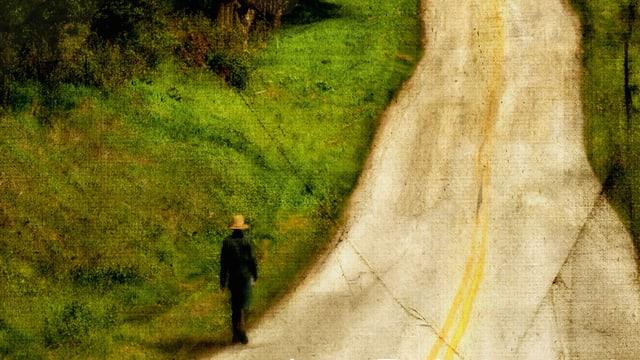 Zeichnung eines Mannes, der eine Strasse lang geht.