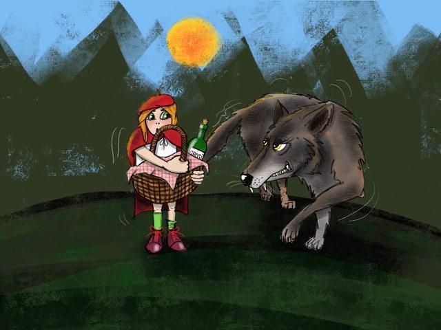 Böser Wolf und Rotkäppchen mit Korb im Arm.