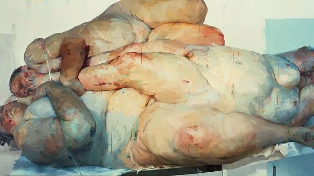 Drei nackte, fleischige, ineinander verkeilte Frauenkörper.