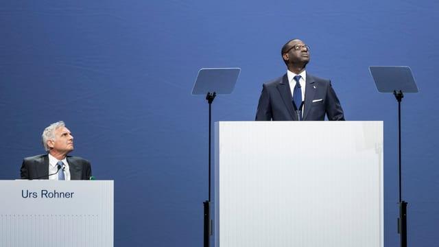Schwierige CS-GV: VR-Präsident Urs Rohner und Konzernchef Tidjane Thiam im Visier der Aktionäre.