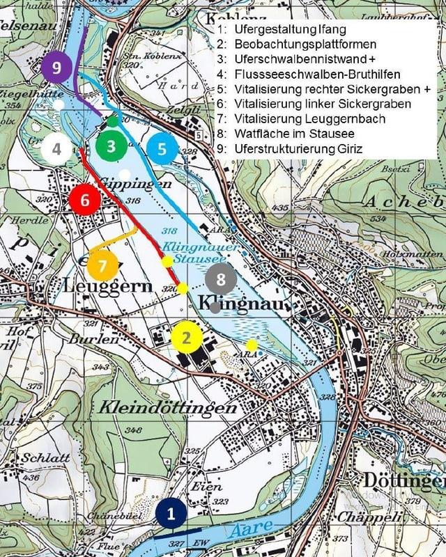 Kartenausschnitt mit Fluss und Stausee