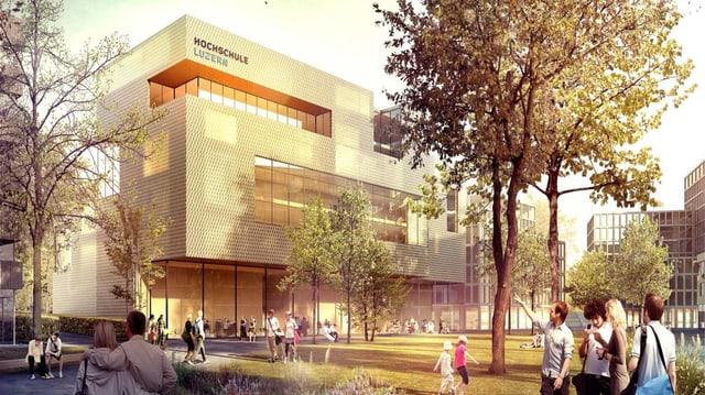 Visualisierung des künftigen Campus der Hochschule Luzern in Rotkreuz.
