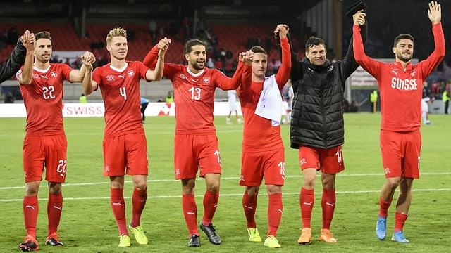 Einige Spieler der Schweizer Nati am EM-Qualifikationsspiel gegen Irland