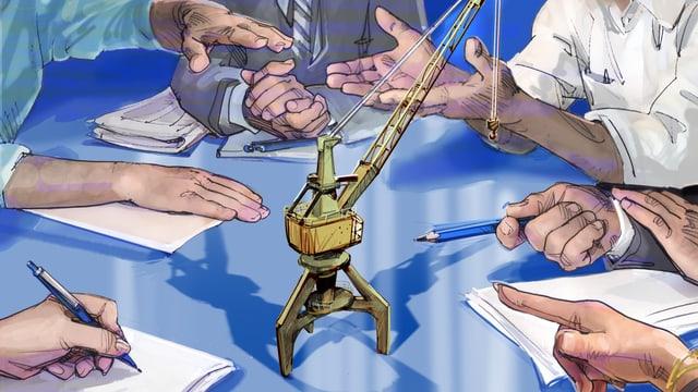 Ein Modell des Hafenkrans steht auf einem Tisch. Diskutierende Hände gestikulieren darum herum.