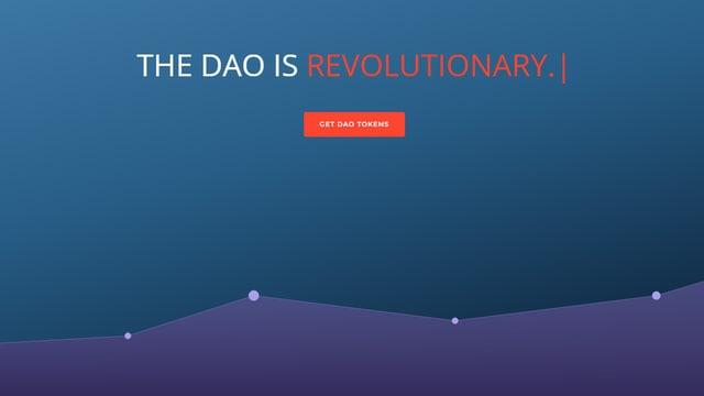 Blauer Hintergrund, daruaf die Schrift: THE DAO IS REVOLUTIONARY.