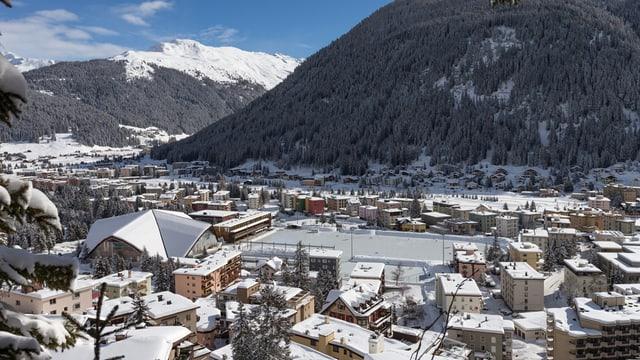 Verschneites Davos von oben