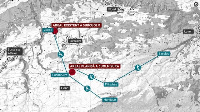 Situaziun geografica dal nov parc da skis per uffants.