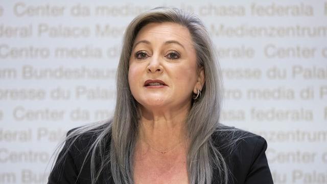 Die Waadtländer Regierungspräsidentin Nuria Gorrite an der Medienkonferenz des Komitees für ein Nein zum E-ID Gesetz 14. Dezember 2020 in Bern.