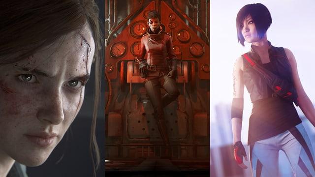 Ein Tryptichon: Ellie aus The Last of Us II, Billie aus Dishonored 2: Death of the Outsider, und Faith aus Mirror's Edge: Catalyst.