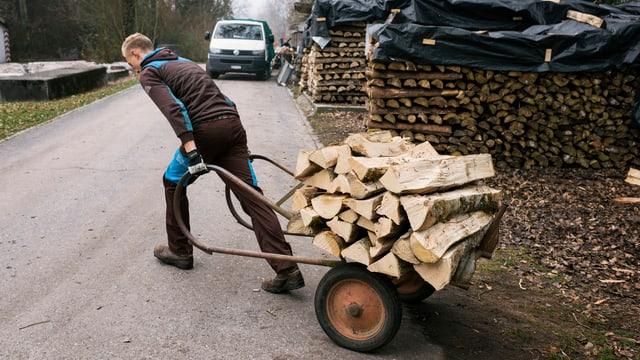 Junger Mann zieht einen Karren mit Holzscheiten im Wald.