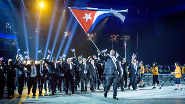 Kubas Delegation bei der Eröffnungszeremonie der Panamerikanischen Spiele