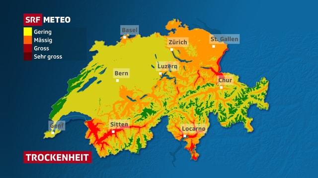 Karte über die Trockenheit in der Schweiz.