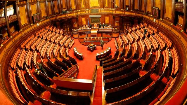 Der leere Senatssaal Italiens.