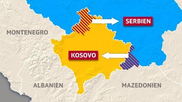 Karte von Serbien und Kosovo