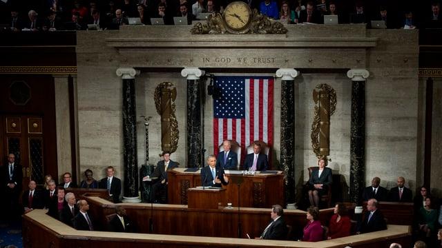 Obama am Rednerpult im Kongress.