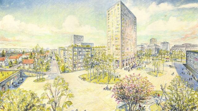 Eine Illustration des neuen Stadtquartiers «Thurgauerstrasse West»