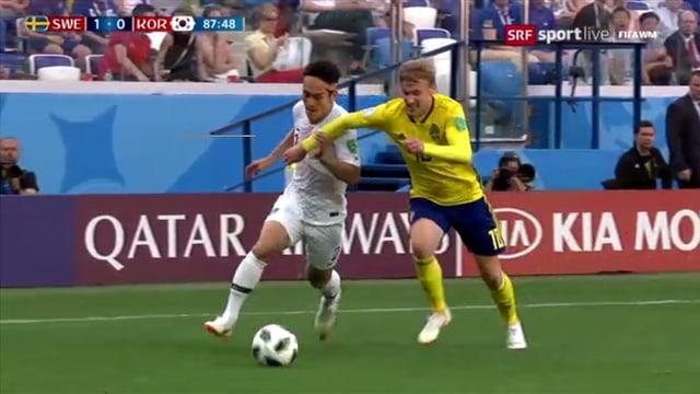 Szene aus der WM-Begegnung Schweden - Südkorea.
