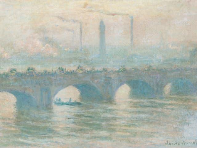Blick auf eine Brücke, dahinter Industrielandschaft.