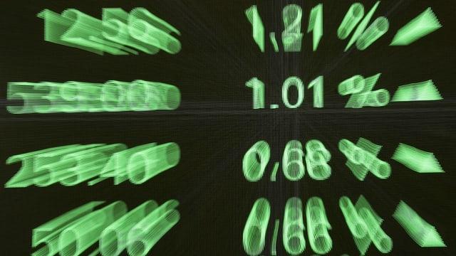 Ina tabla naira cun si cifras verdas da la börsa.