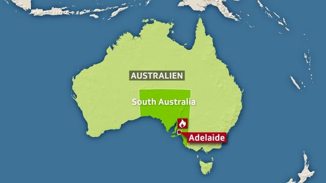 Karte von Australien, darauf markiert die Stadt Adelaide