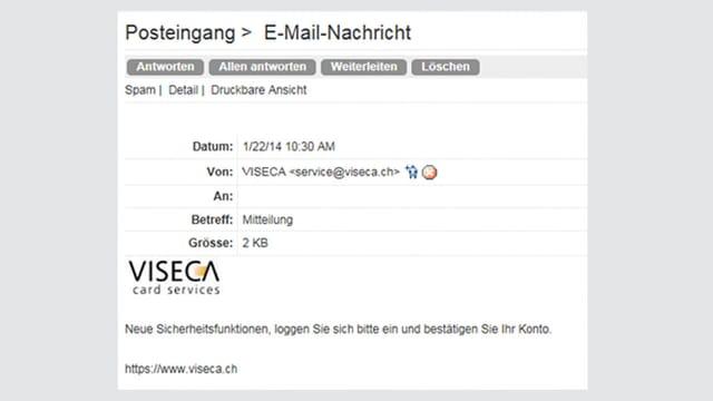Mail mit Absender Viseca.