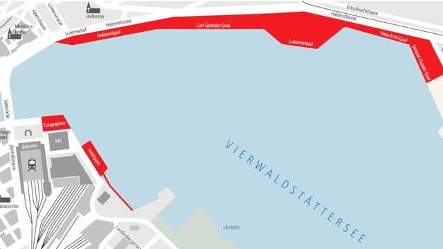 Eine Karte, die gesperrte Bereiche in der Stadt Luzern zeigt.