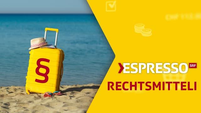 Koffer mit Paragraphen-Symbol am Strand