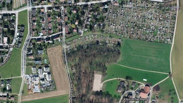 Luftaufnahme des Gebietes auf dem Bruderholz.