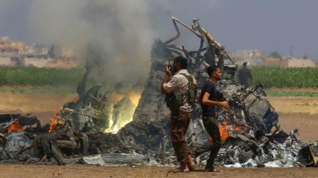 Il vrac dal helicopter sajettà giu en il nord da la Siria.