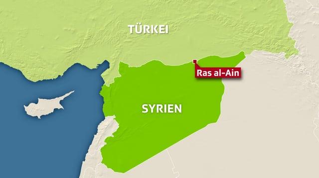 Karte von Grenze Syrien-Türkei.