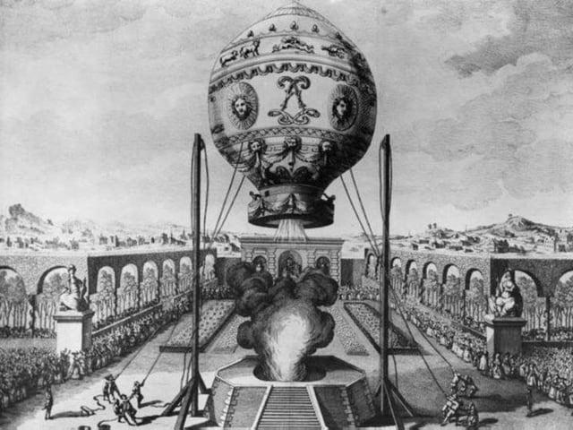 Schwarz-Weiss-Bild des Ballons der Gebrüder Montgolfier
