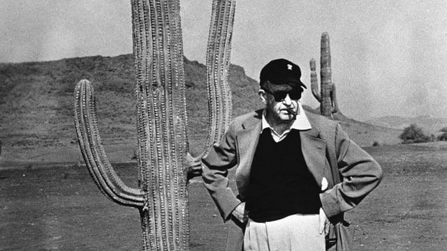 Regisseur John Ford steht neben einem Kaktus.