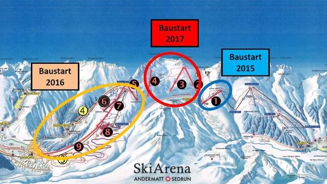 Las lavurs da colliar ils territoris da skis d'Andermatt (san.) e Sedrun (dre.) van tenor plan.