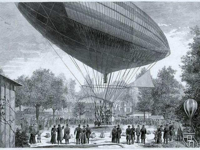 Zeichnung des Luftschiffs, Leute stehen darunter.