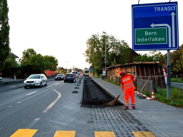 Blick auf die Bauarbeiten an der Bernstrasse.