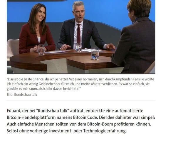Talk-Runde in der Sendung Rundschau.