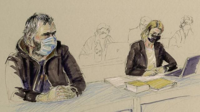Gerichtszeichnung: 34-jähriger Mann im Trainingsanzug mit Maske, daneben seine Anwältin.