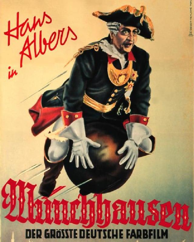 Das Plakat zum Film zeigt Münchhausen, wie er auf einer Kanonenkugel sitzend durch die Luft fliegt.