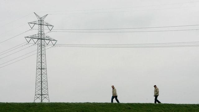 Zwei Personen wandern vor Hochspannungsleitung