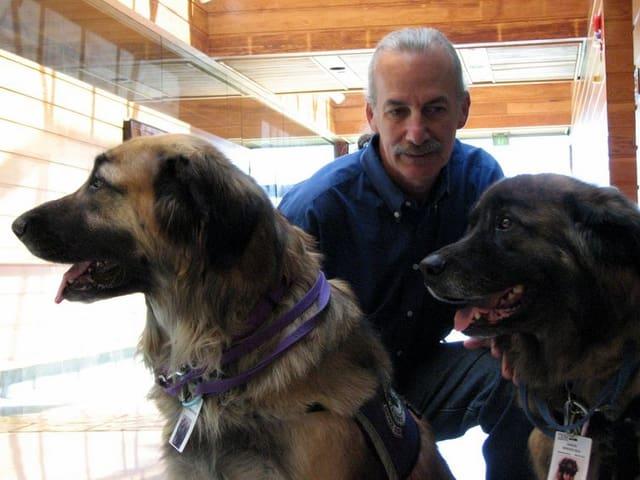 Don Eigler mit zwei Hunden.