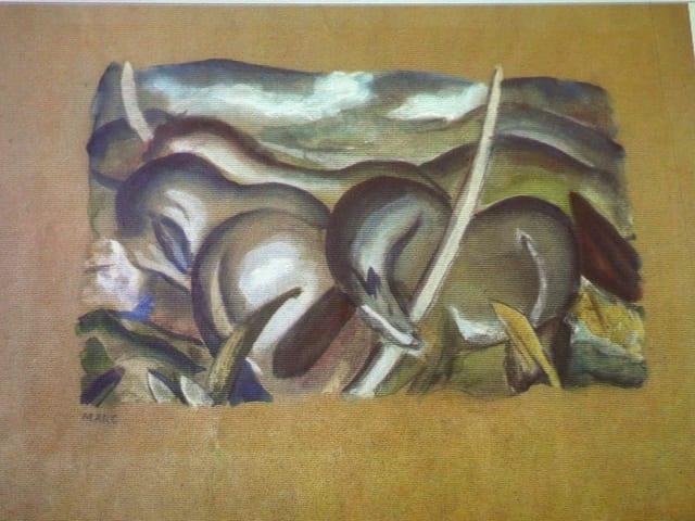 Gouachezeichnung mit Pferden.