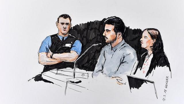 Eine Gerichtszeichnung zeigt den Angeklagten (mitte) und seine Anwältin.